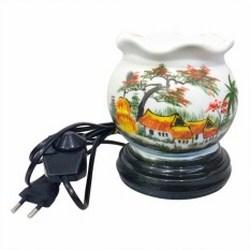 Đèn xông tinh dầu dáng tròn hình đồng quê Bát Tràng