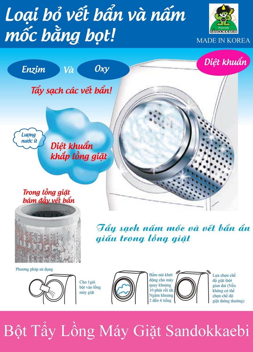 Bột tẩy vệ sinh lồng máy giặt Sandokkaebi