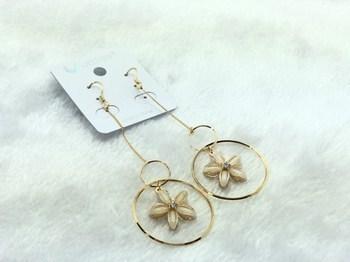 Bông tai khuyên 2 vòng tròn phối hoa