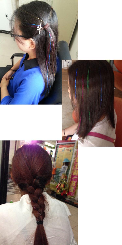 Tóc lai kim tuyến màu