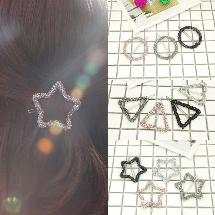 Kẹp tóc pha lê hình ngôi sao, hình tròn