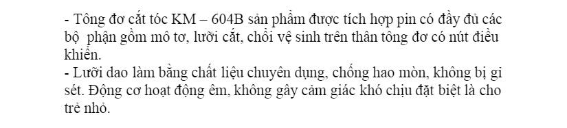 Tông Đơ Cắt Tóc Trẻ Em KEMEI KM-604B