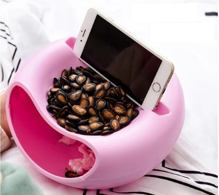 Dĩa trái cây sáng tạo có kệ đựng điện thoại