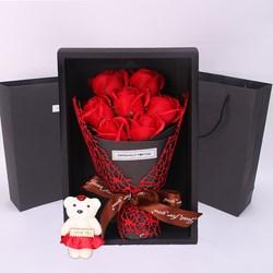 Hộp quà 7 hoa hồng và gấu bông