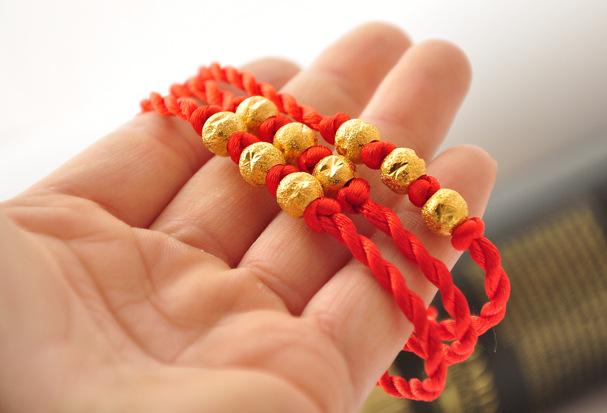 Vòng tay may mắn 3 hạt tròn vàng