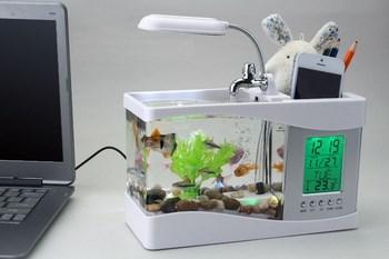 Bể cá mini tích hợp đèn led, đồng hồ, lọc nước, hộp đựng bút