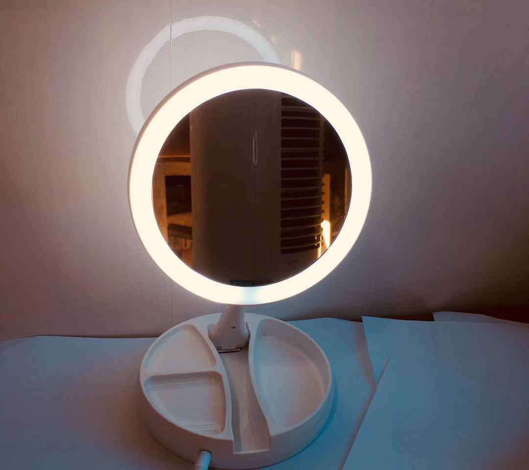 Gương đèn led trang điểm gấp