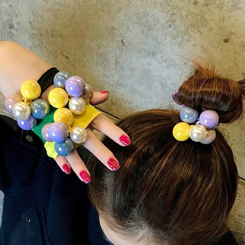 Dây cột tóc 5 hạt ngọc lớn nhiều màu