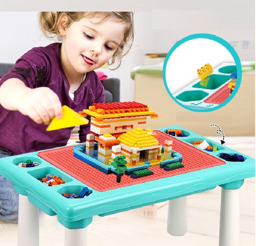 Bàn chơi 300 khối lắp ráp đa năng cho bé
