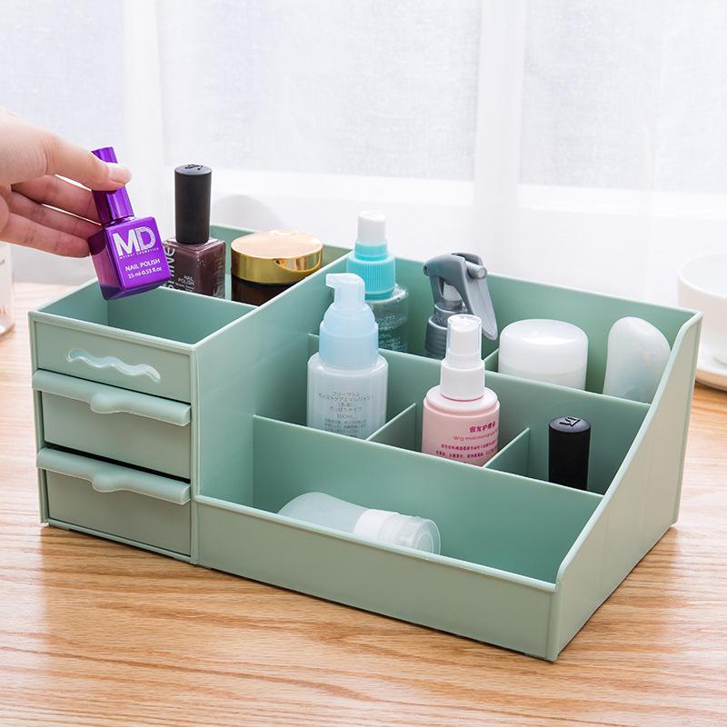 Kệ nhựa đựng mỹ phẩm có 2 ngăn kéo (3 màu)