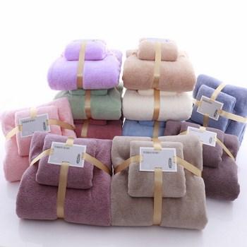 Bộ 2 khăn tắm gấp gọn bằng lông 35x75+70x140cm