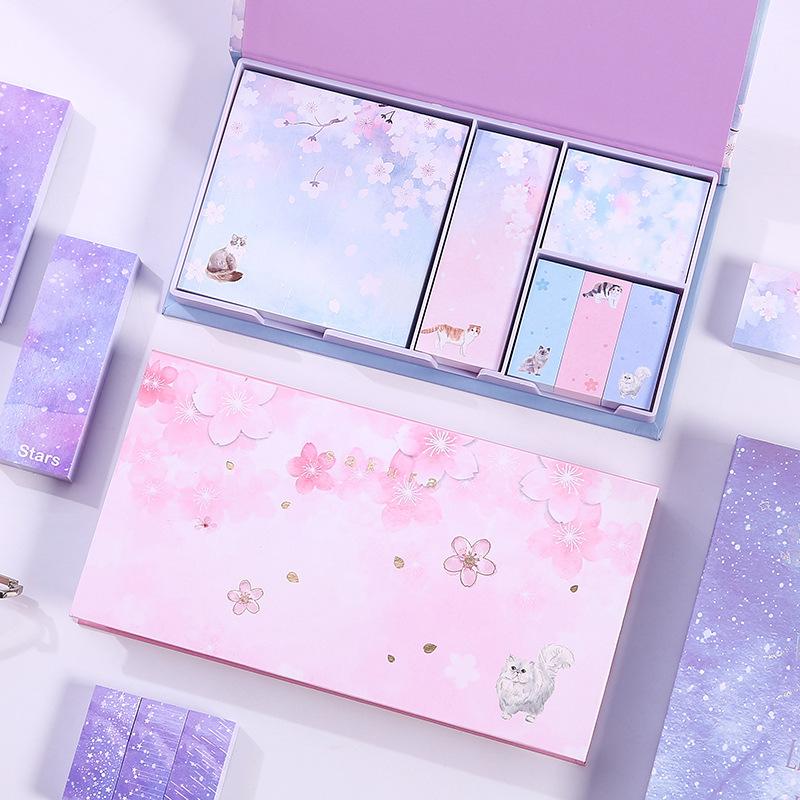 Hộp 6 tập giấy note màu hình hoa