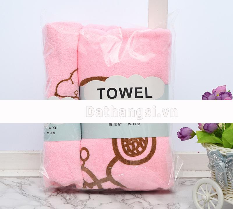 Bộ 2 khăn tắm in hình chú chó 70x140 và 35x75