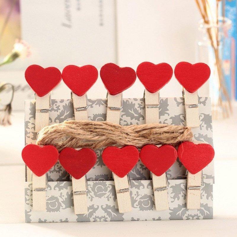 Combo 10 kẹp gỗ hình trái tim màu đỏ