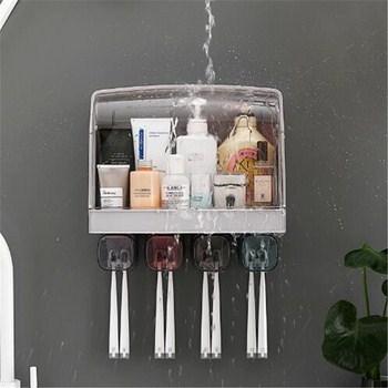 Hộp đựng dụng cụ nhà tắm kèm 4 ly có nắp chắn nước