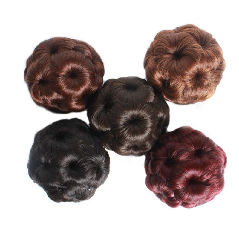 Tóc giả búi củ tỏi (màu đen và nâu)