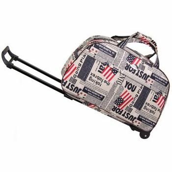 Túi kéo du lịch có bánh xe tiên dụng (Cờ Mỹ & báo retro)