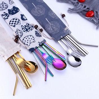 Bộ 7 món đũa muỗng nĩa ống hút inox kèm túi
