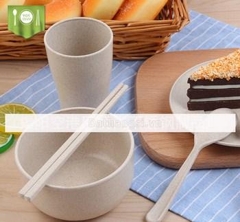 Bộ 6 món ly chen muỗng nĩa dĩa đũa lúa mạch
