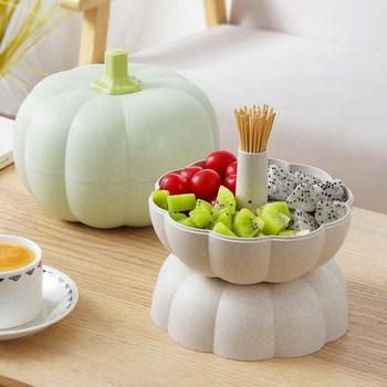Hộp đựng trái cây lúa mạch hình bí ngô tiện dụng 14x20cm