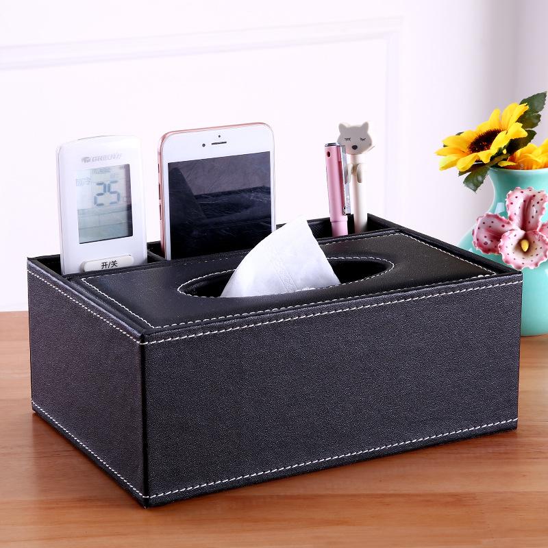 Hộp khăn giấy da có 3 ngăn tiện dụng 23.5x9.5x15cm