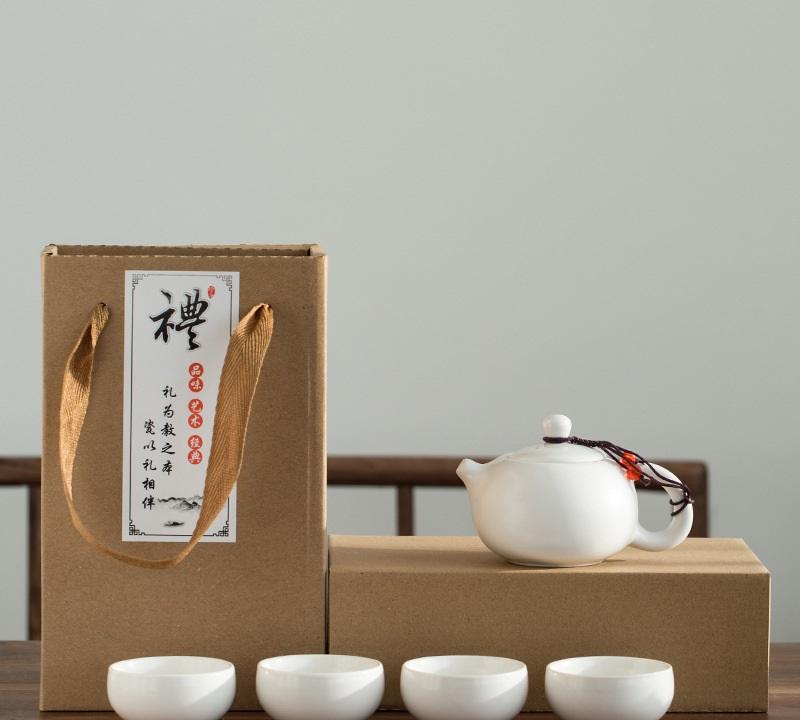Bộ bình trà 4 tách có túi đựng (màu xanh)