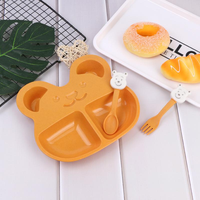 Khay ăn dặm 2 ngăn hình gấu cho bé (muỗng , nĩa)
