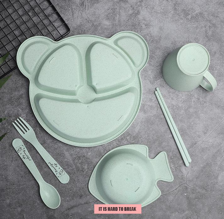 Khay ăn dặm 3 ngăn 6 món (muỗng, đũa, nĩa, ly, ca)