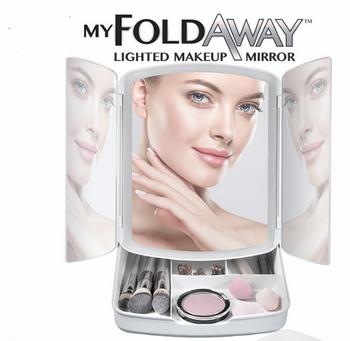 Gương trang điểm có kệ đựng mỹ phẩm My Fold Away