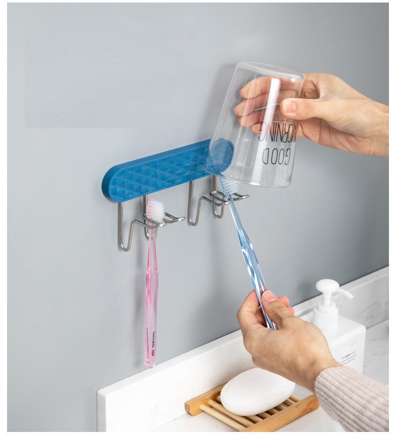 Giá đỡ bàn chải và cốc dán tường hàng đơn