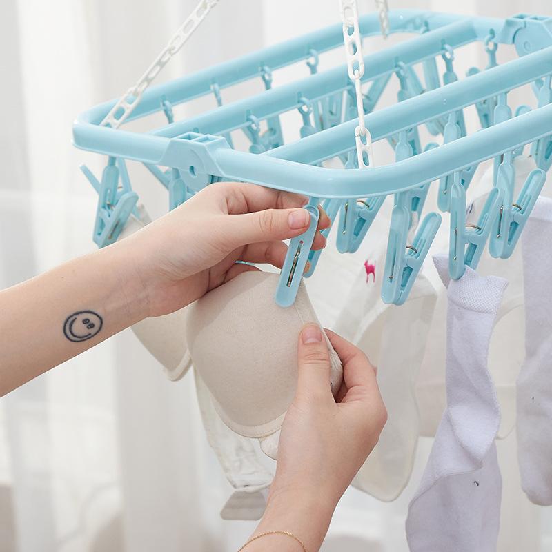 Móc nhựa phời đồ quần áo 32 kẹp gấp gọn