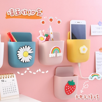 Kệ dán tường đựng điện thoại sạc, vật dụng hình dễ thương