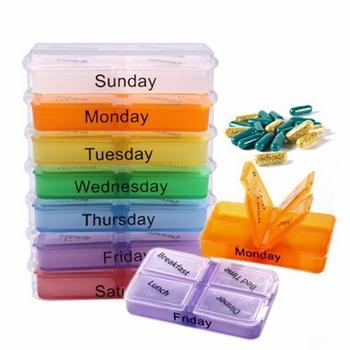Hộp đựng thuốc 7 ngày có thể tháo rời (mỗi ngày 4 ngăn)