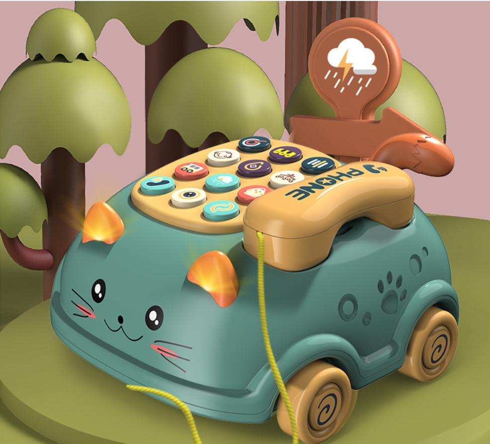 Đồ chơi mô phỏng điện thoại bàn hình mèo cho bé