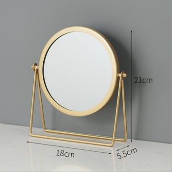 Gương trang điểm để bàn xoay 360 độ khung màu vàng sang trọng