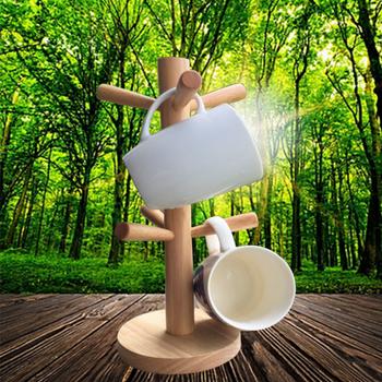Giá treo cốc úp ly bằng gỗ 6 móc