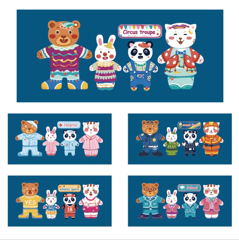 trò chơi ghép quần áo hình thú cho trẻ em