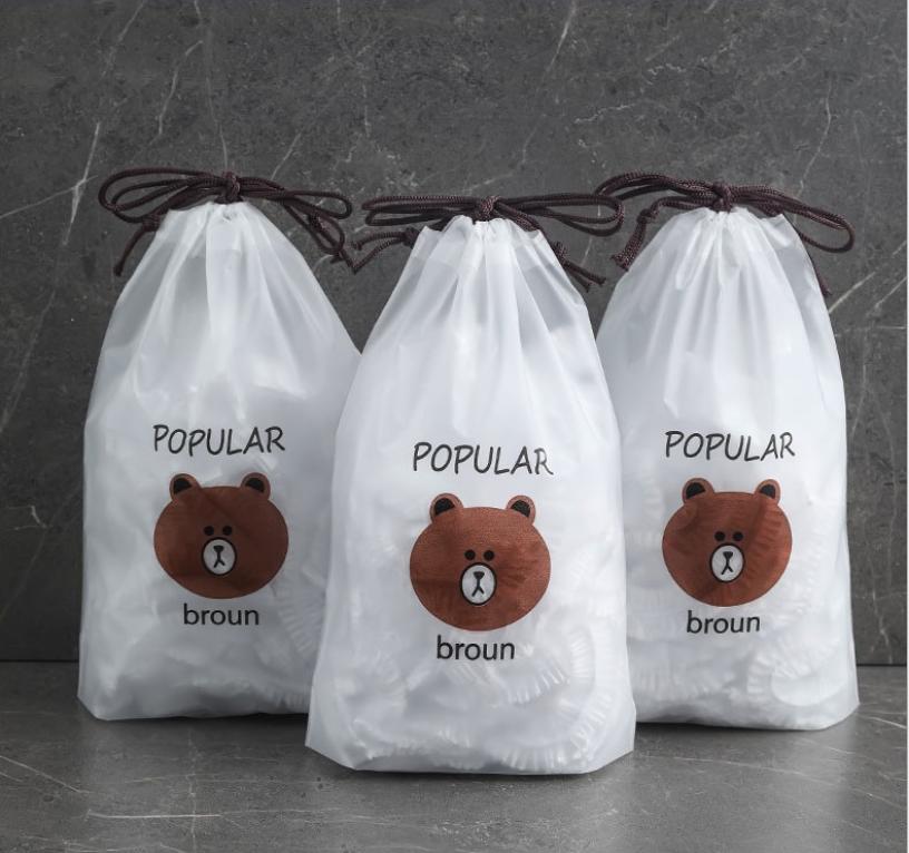 Combo 100 màng bọc thực phẩm túi hình gấu